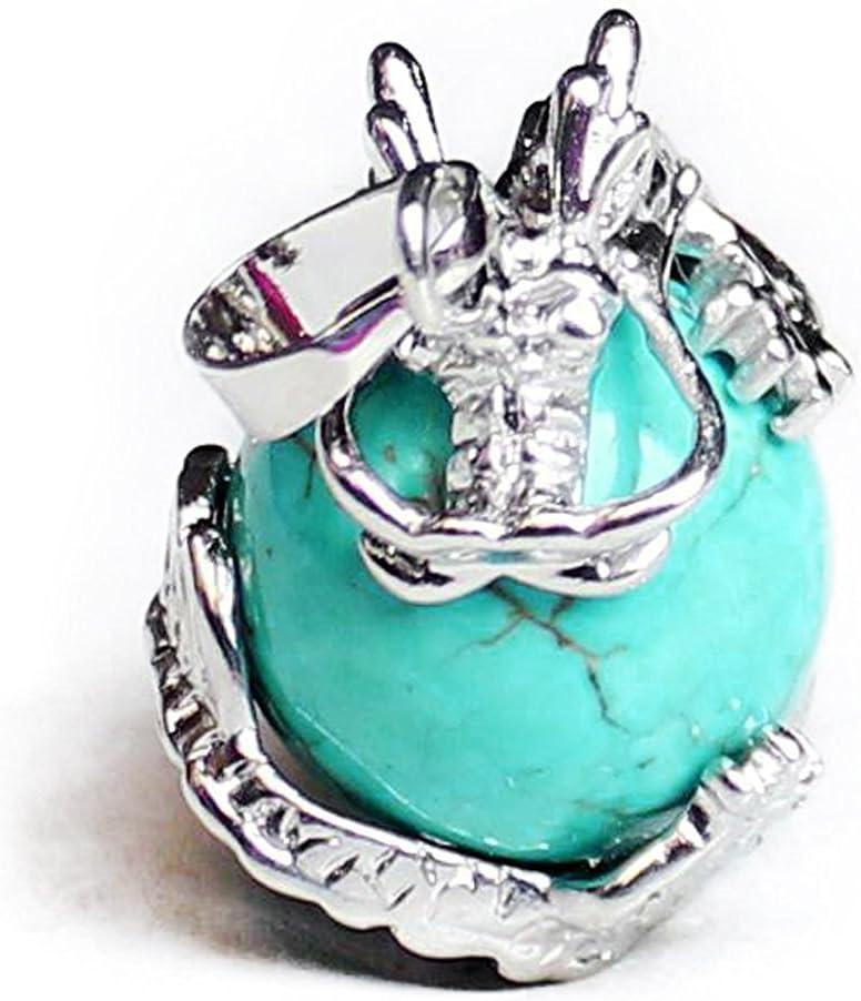 TOOGOO 1 PCS Natural 15mm Piedra Preciosa Bola Colgante Envuelta Plata Aleacion Dragon para Mujeres Encantada Joyeria Collar - Turquesa