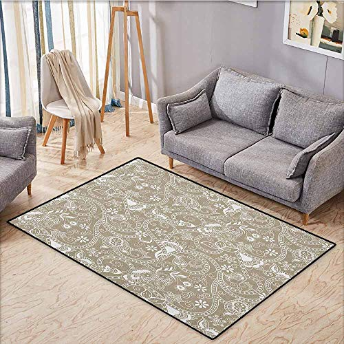 (Indoor/Outdoor Rug,Floral,Monochrome Abstract Shapes Lines Swirls Flower and Leaf Silhouettes Checkered Design,Anti-Slip Doormat Footpad Machine Washable,4'11