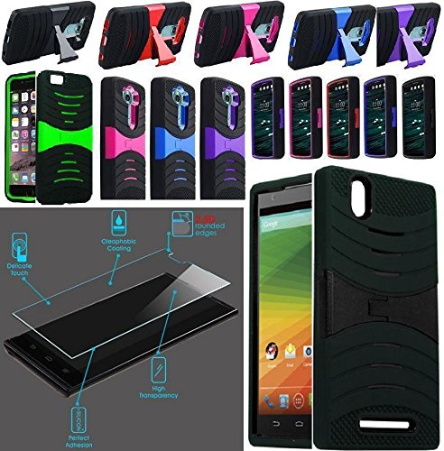 NP ARMOR Tempered GLASS Screen Protector + Phone Case For ZTE Zmax/Z970 (uBLACK/GREEN)
