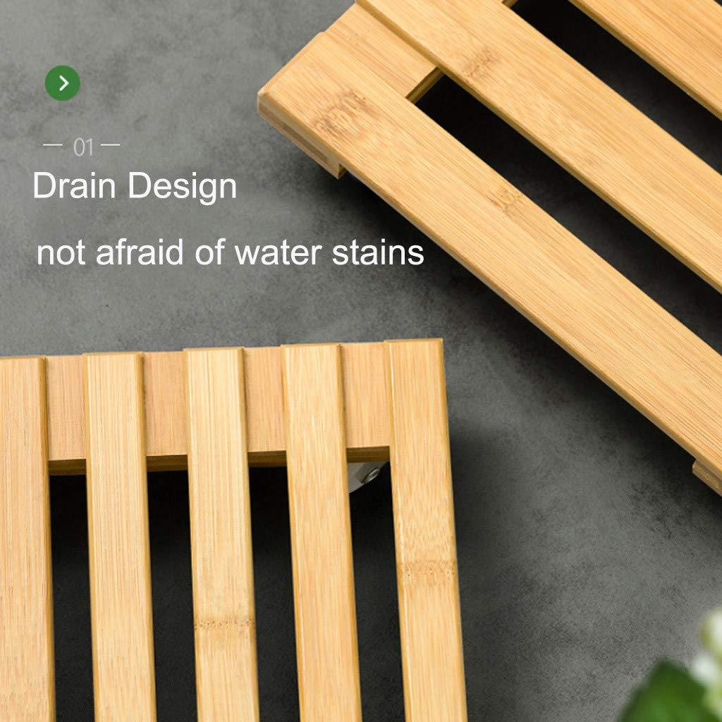 Wooden Plant Caddy M 11.8 x 11.8 Movable Indoor Outdoor Garden Planter Trolley Tray Heavy Duty Square Rolling Flower Potted Plant Stand with Wheels
