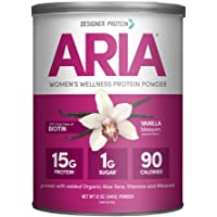 Designer Protein Aria, Vanilla, 12 Oz, Women's Wellness Protein Powder, Made in the USA