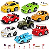 VOHUKO Diecast Pull Back Toy Cars,17pcs Set Of 8 Friction Powered Metal Cars with 9 Road Signs for Children (diecastcars)