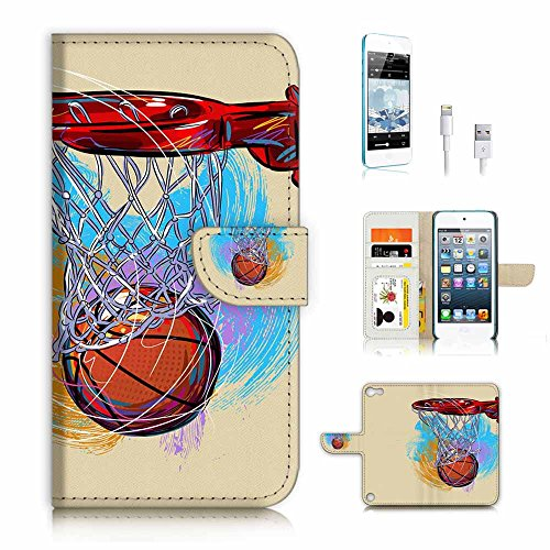 ( For ipod 5, itouch 5, touch 5 ) Flip Wallet Case Cover & Screen Protector & Charging Cable Bundle! A3366 Basket Ball