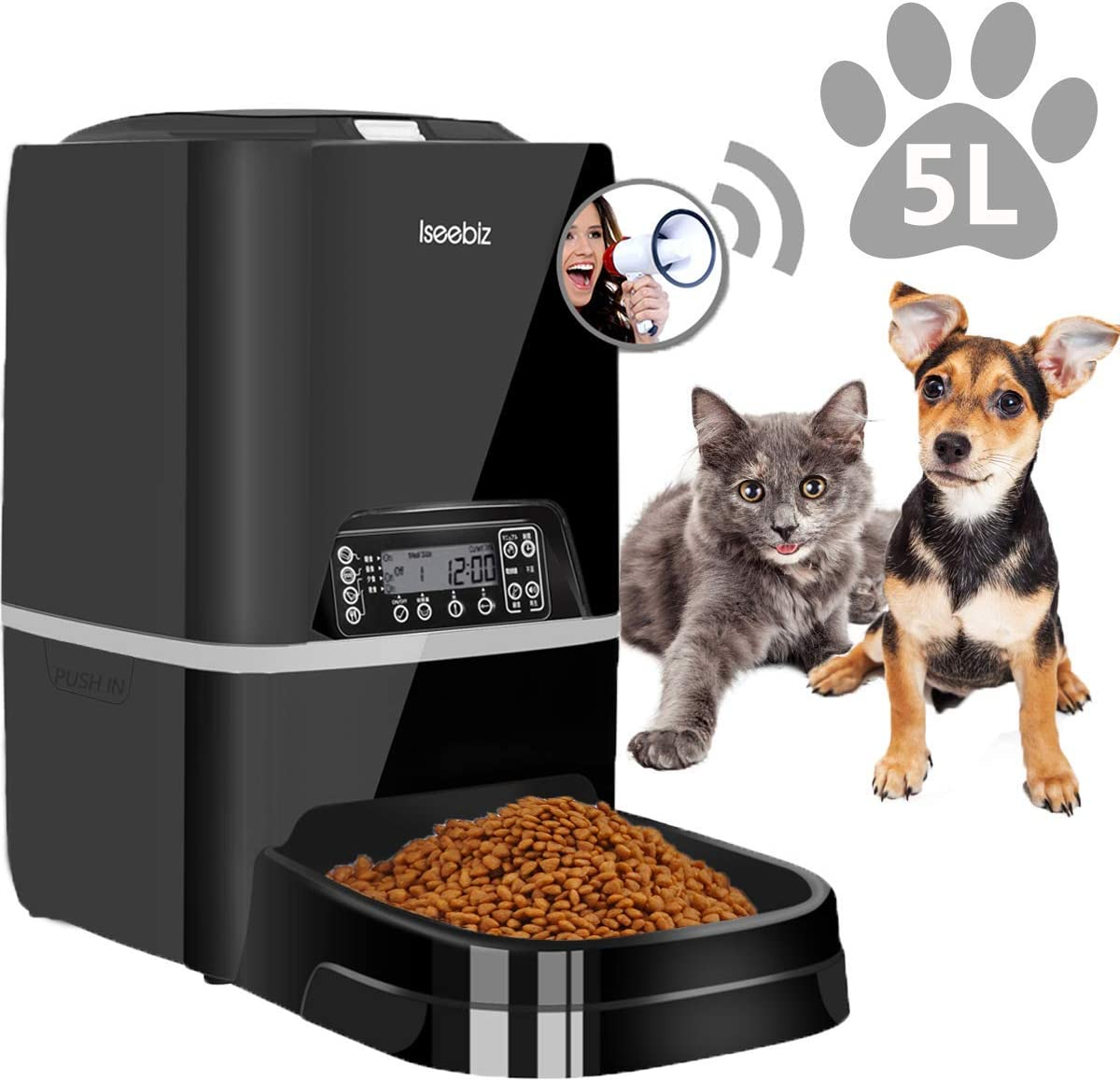 Iseebiz Automatic Pet Feeder 5L Smart Feeder Dog Cat Food Dispenser Voice Recording,Distribution Alarms,Timer Programmable, Portion Control, IR Detect, 4 Meals Per Day for Small and Medium Cats Dogs…