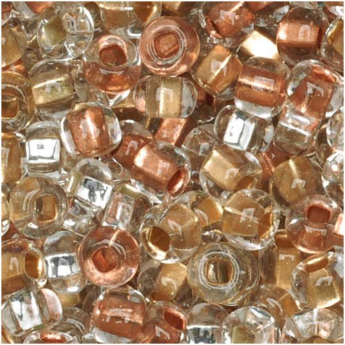 Jablonex Czech Seed Beads Mix, 1-Ounce, Size 6/0, Metallic Gold, Silver and Copper (Glass Mix Bead)