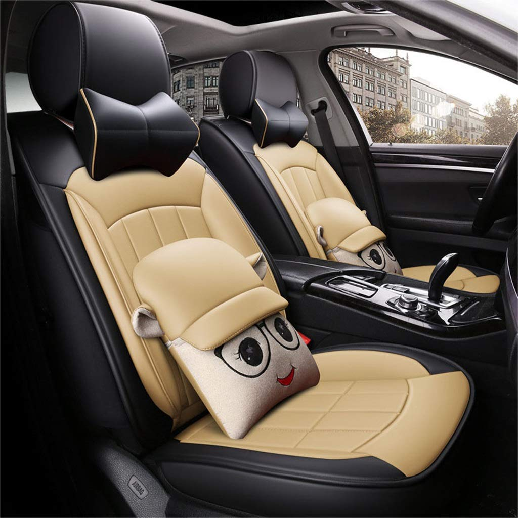 Beige Car Seat Cover is Used in Mercedes Cla Series CLS Series C Series E Series Gla Series Four Seasons Leather with Pillow