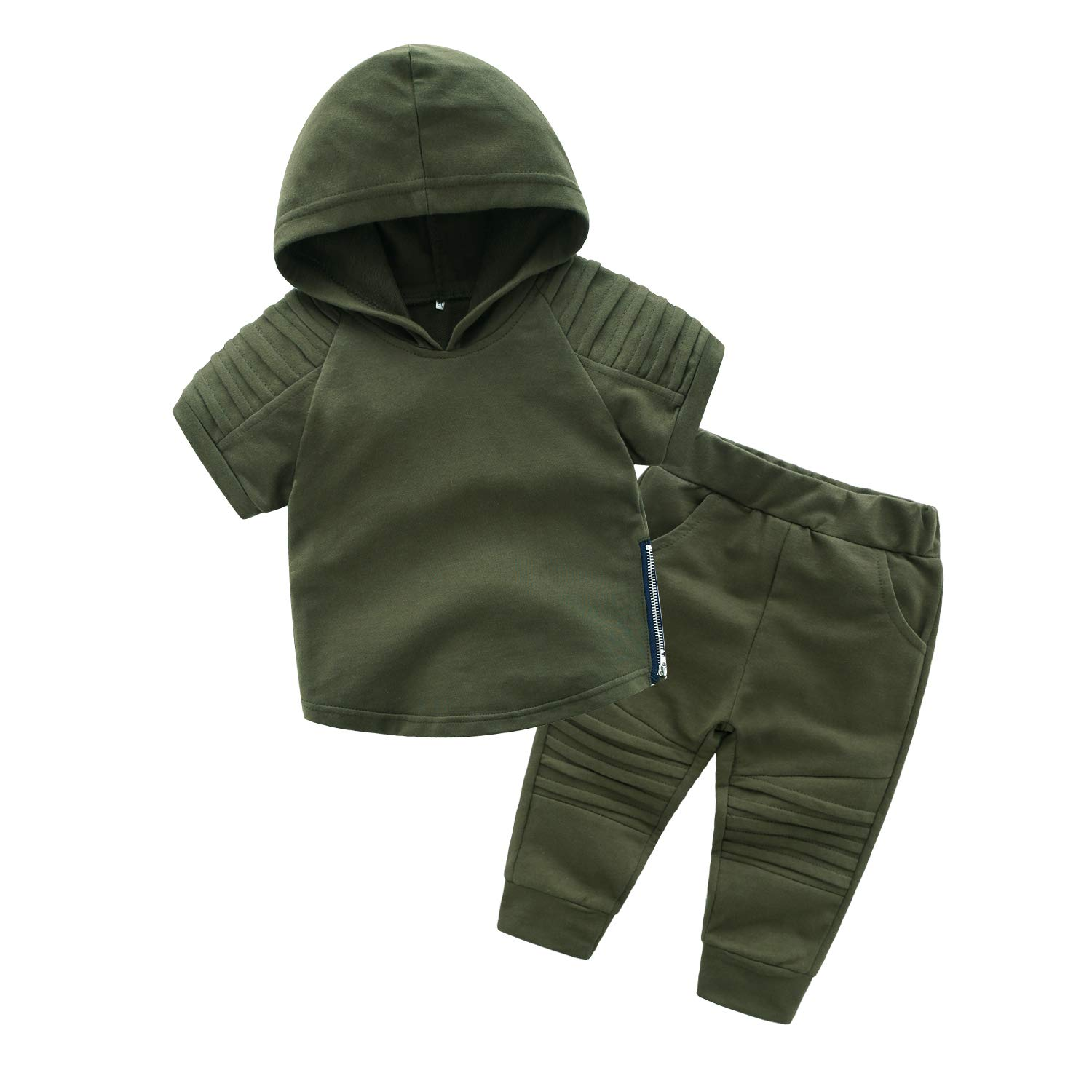 Kimocat Boys Casual Breathable Hoodie Sweatshirt Sports Clothes Sets Kids Outfits Tracksuit Short-Sleeve Tops+Pants (Green, 2T) by Kimocat