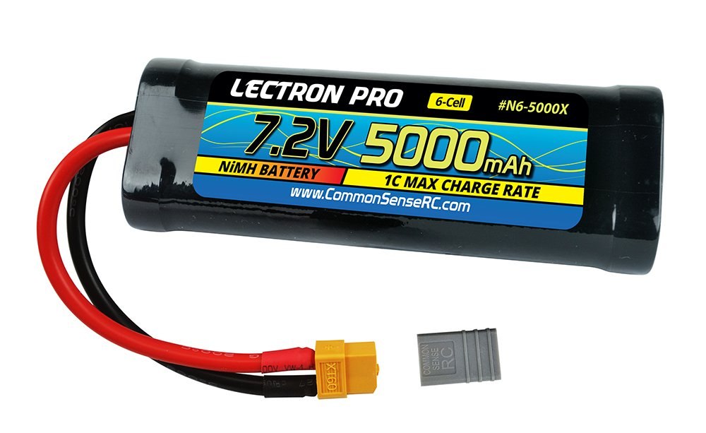 Lectron Pro NiMH 7.2V 6-Cell 5000mAh Flat Pack with Deans-Type Connector for 1//10 Scale Cars Trucks and Buggies