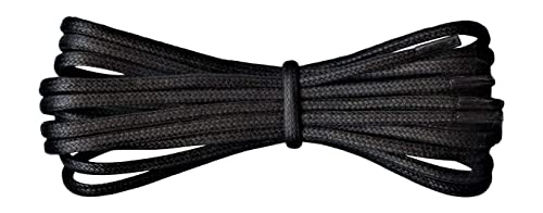 08c7a1fb14b 2 mm Round Black Waxed Cotton Shoelaces - 45 cm length - Thin laces for  dress