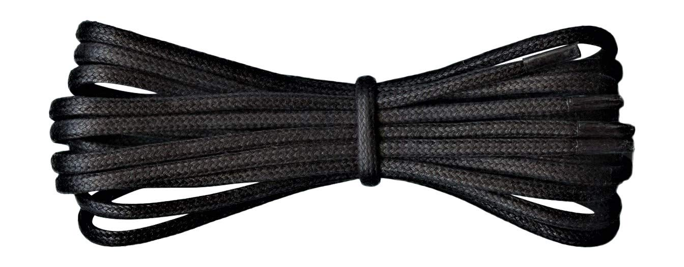 Thin Round Black Waxed Cotton Shoelaces - 18'' / 45 cm length - Thin laces for dress shoes and boots.