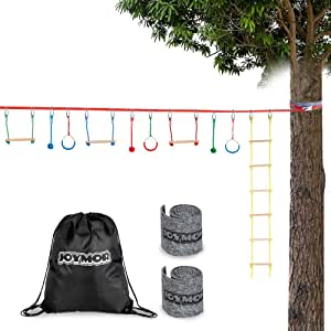 JOYMOR Upgraded Ninja Obstacle Course for Kids, 59 Feet Slack Line with Climbing Ladder, 3 Gymnastics Rings, 3 Monkey Bars, 3 Knots, 2 Tree Protectors, Ninja Warrior Training Line for Backyard Play