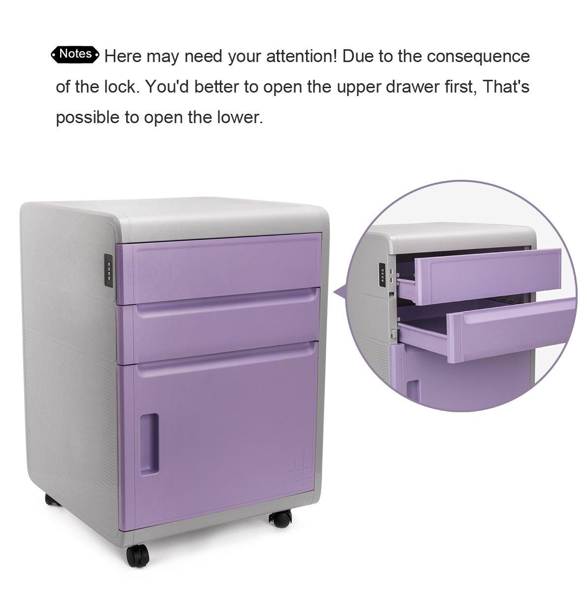 Archivador con cajones, archivador con cerradura combinación, archivador de plastico ABS, Evertop armario archivado, para oficina, habitación, ...