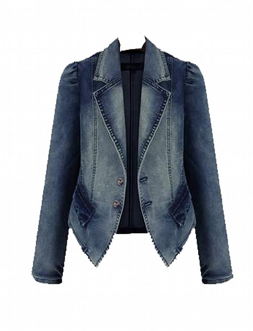 EKU Women's Skinny Plus Size Long Sleeve Denim Outwear Cardigan 4XL Aspicture