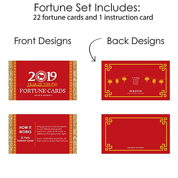 Big Dot of Happiness Chinese New Year - 2019 Year of the Pig Party Scratch  Off Fortune Cards - 22 Count