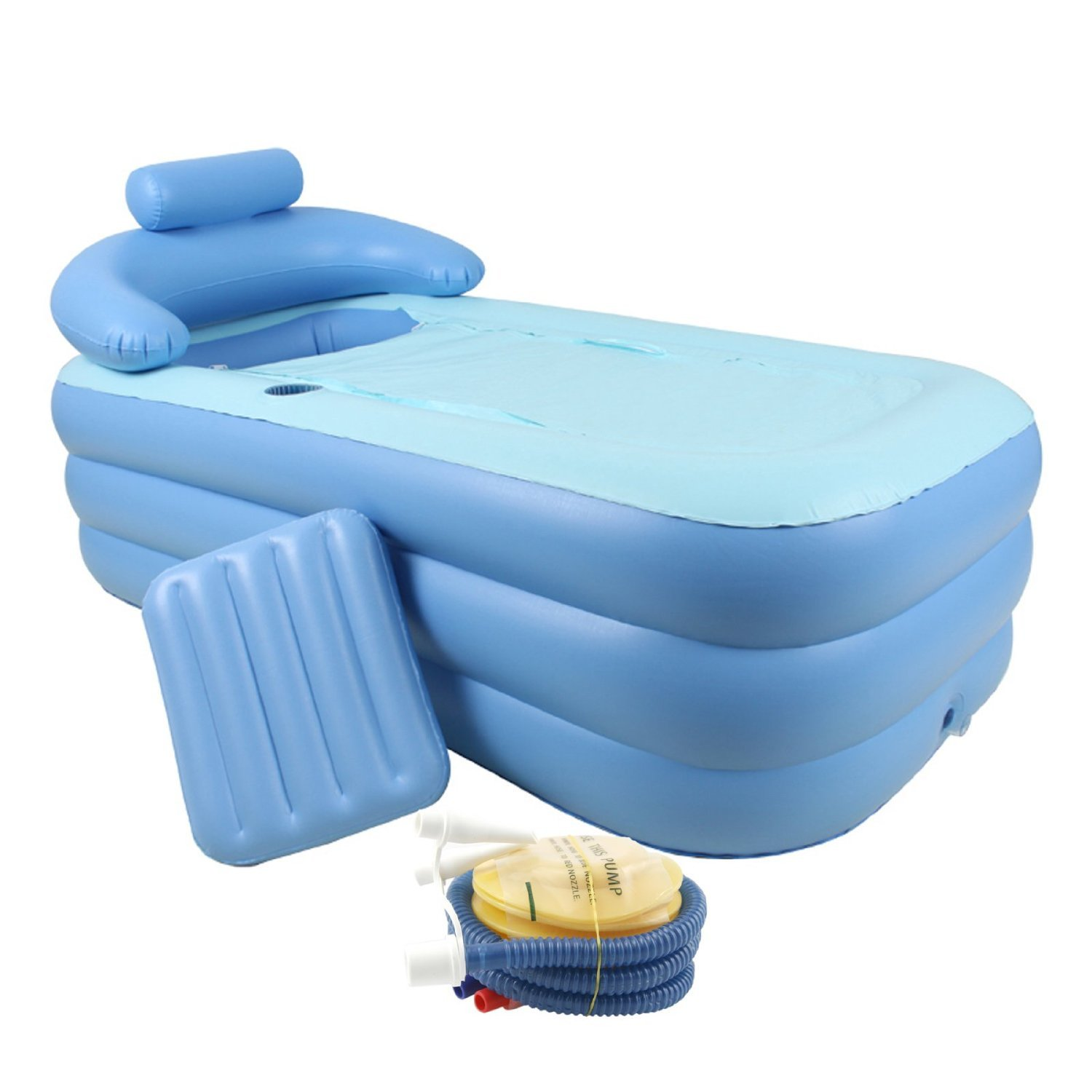 Adult PVC Portable Folding Inflatable Bath Tub W/ Air Pump For Bathroom SPA