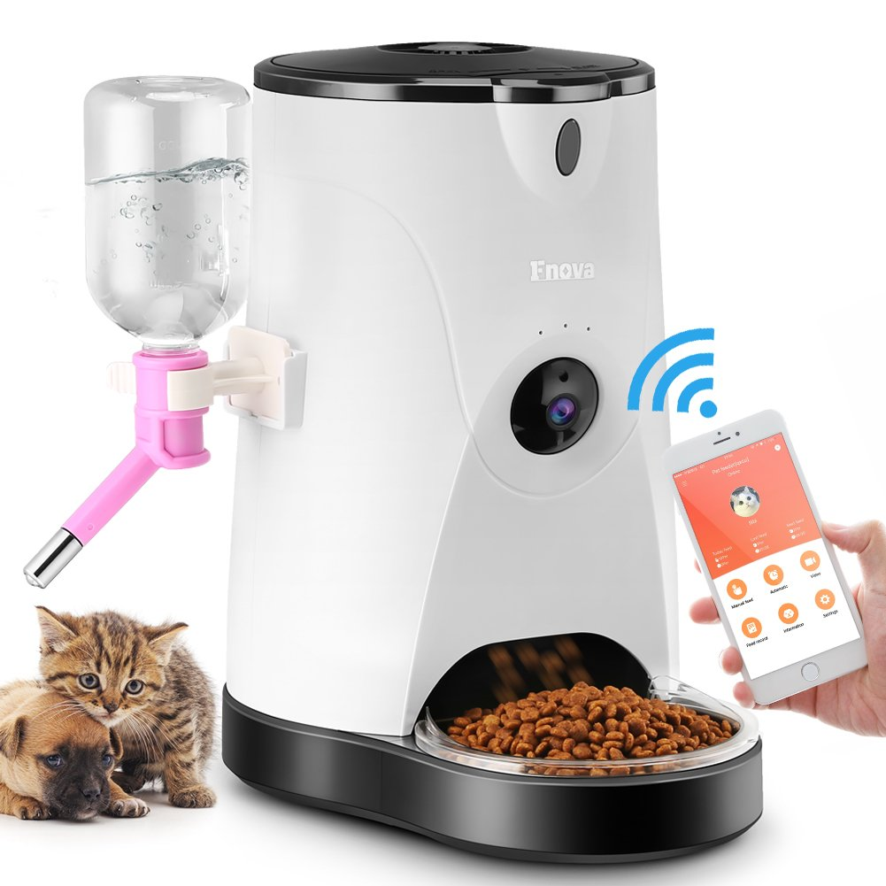 Automatic Cat/Dog Feeder, Fnova Smart Pet Food and Water Dispenser wih Real-Time HD Night Vision Camera, and 2.4GHz Wi-Fi App Enabled for iOS and Android Smart Phone or Other Mobile Devices