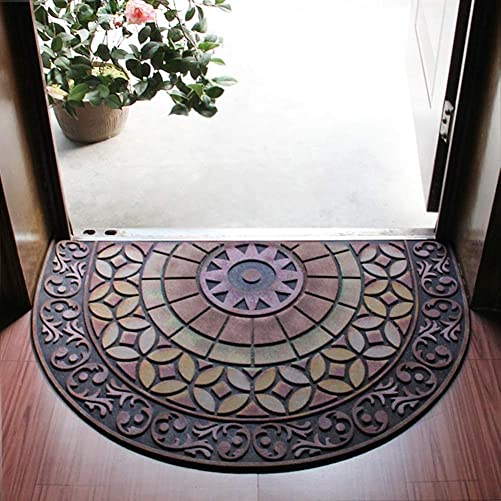 Half Round Entrance Door Mat,Non-Slip Door Mat Hand-Stenciled Entrance Rug Indoor Outdoor Door Shoe Scraper Entryway,Easy Clean Entry Way Welcome Doormat, Floor Mat, Rug for Patio, Front Door 05