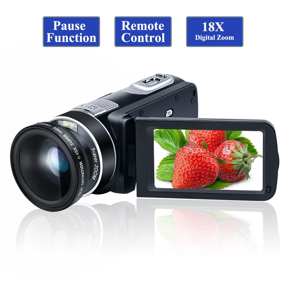 Camcorder Video Camera Full HD 1080P 24.0MP Digital Camera 18x Digital Zoom 2.7'' LCD with Wide Angle Close-up Lens