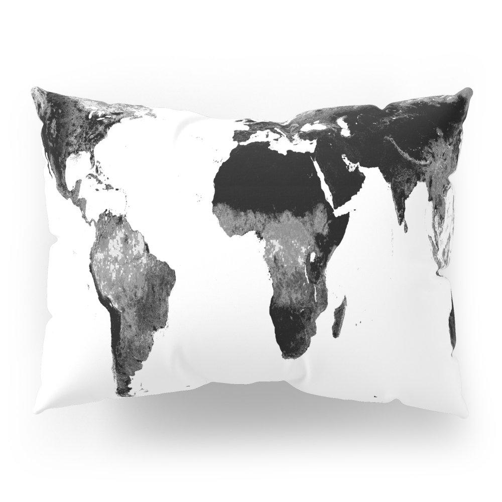 Society6 World Map Black & White Pillow Sham Standard (20'' x 26'') Set of 2