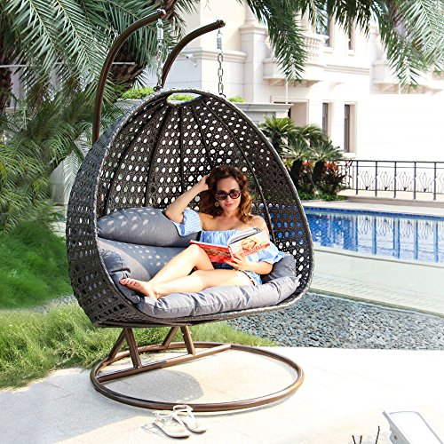 Luxury 2 Person Outdoor Hanging Chair with Stand by Island Gale|Outdoor Wicker Furniture Porch Swing Chair w/ Stand & Cushion - Max.528 Lbs - 2 Stand for Extra Safety - Perfect for Outdoor Yard (Outdoor Hanging Swing Chair)
