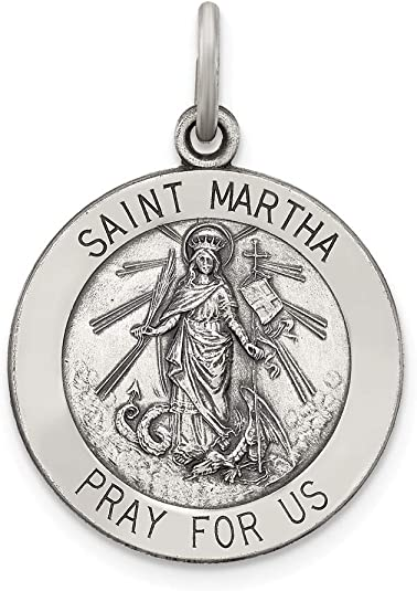 925 STERLING SILVER NECKLACE /& KEYRING ST MARTHA Of Bethany Patron Saint Pendant