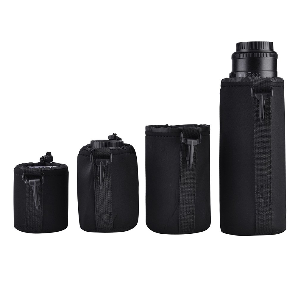 4pcs Bolsa de almacenamiento de lentes de c/ámara Resistente al agua Bolsas protectoras de lentes de c/ámara Lente de la c/ámara a prueba de golpes bolsa bolsa con Quick Clip para DSLR