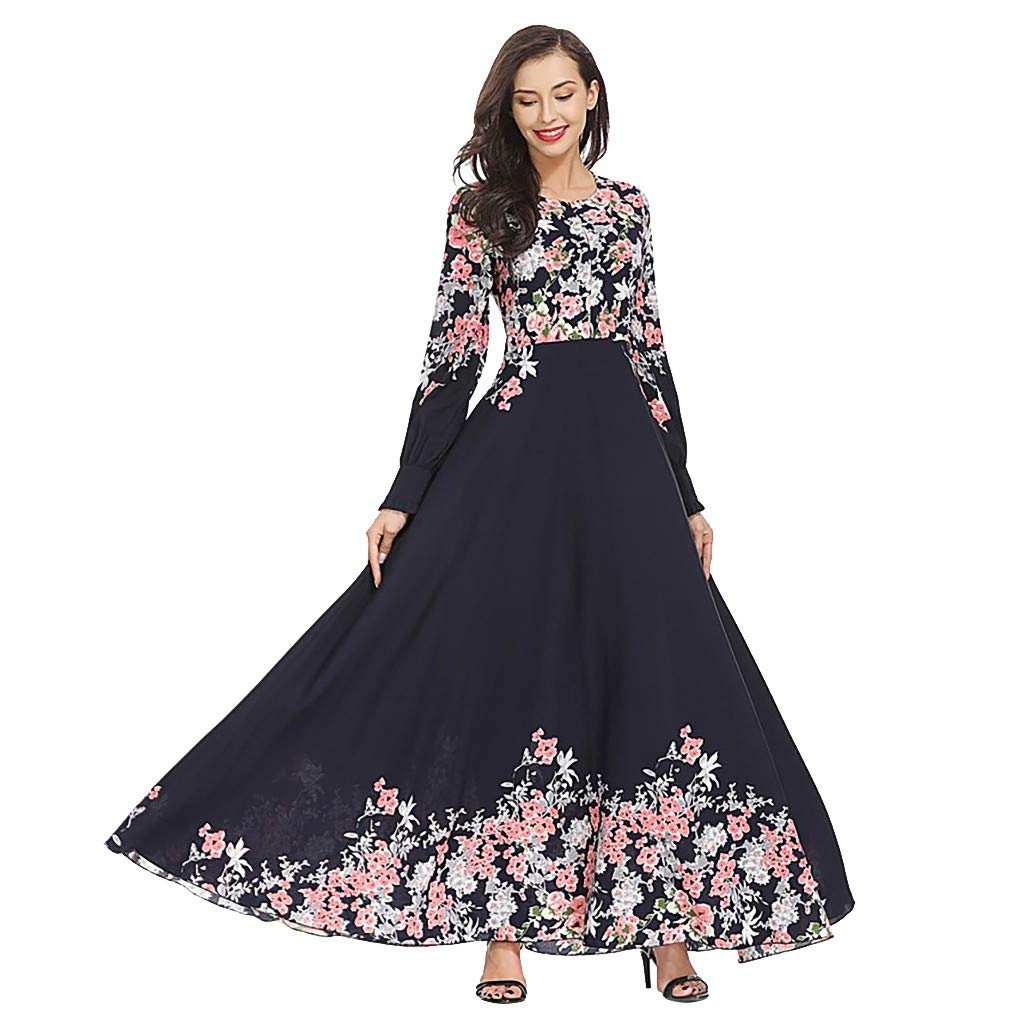 Wenini Maxi Dresses for Women, Women's Long Sleeve Floral Print Cocktail Evening Party Muslim Loose Maxi Dress by Wenini