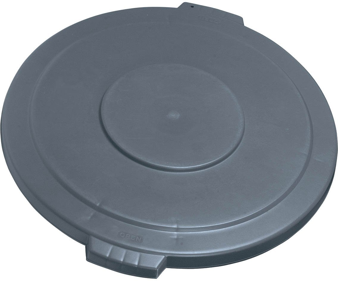 """Carlisle 34104523 Bronco Polyethylene Round Lid, 26.88"""" Diameter x 2-1/4"""" Height, Gray, for 44 Gallon Trash Containers"""