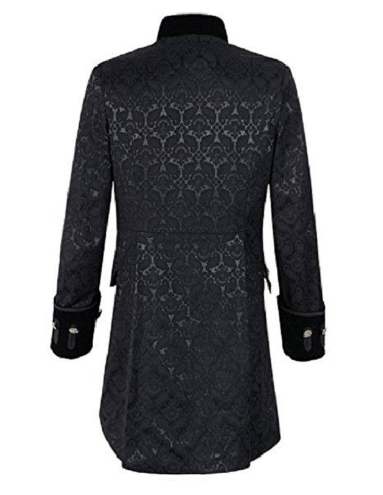 Renaissance Mens Velvet Goth Steampunk Victorian Frock Coat (Large, Black)