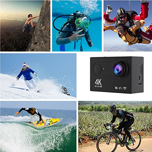 Hicober Action Camera - Ultra 4K HD Action Cam - 12MP WIFI Sports Action Camera - Waterproof Underwater 30M - Dual 2 Inch LCD display - 170°Wide Angle Lens with Multiple Accessories Kits