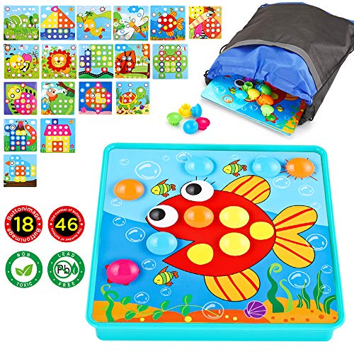 Learning Button - INSOON Button Art|Early Learning Educational Toys|Color Matching Mosaic Pegboard|46 PCS Pegs and 18 Templates |Gifts for Boys and Girls