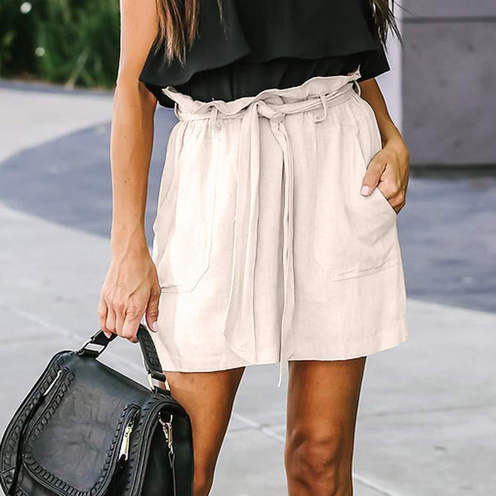justHIGH Falda Corta de Cintura Alta de Color Puro para Mujer ...