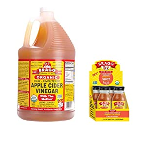 Bragg Organic Apple Cider Vinegar With the Mother 128 ounce and Bragg Organic Apple Cider Vinegar Shot with Carrot Ginger 2 ounce ACV Shot Pack of 4 Bundle