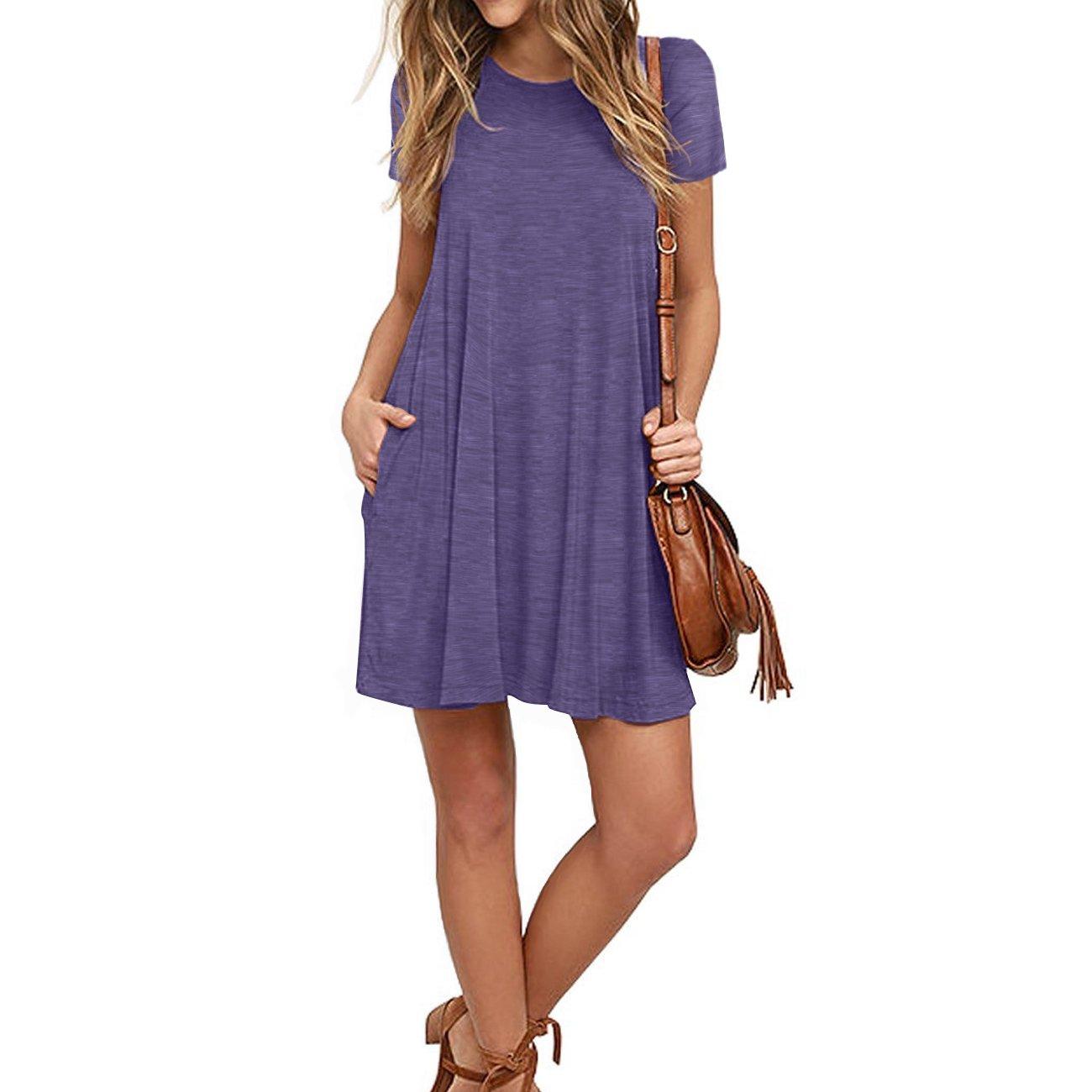 Naokenu Women Short Sleeve Swing Dress with Pockets Casual Loose T-Shirt Dress(S,Purple Gray) by Naokenu (Image #3)
