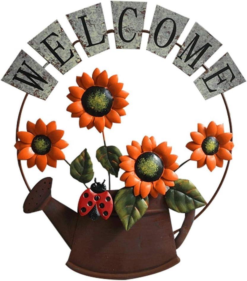 Garneck Cartel de Bienvenida de Metal Placa de Pared Rústica Placa de Bienvenida Decorativa Carteles de Girasol para Jardín Porche Puerta de Entrada Casa de Campo Decoración Del Hogar Naranja