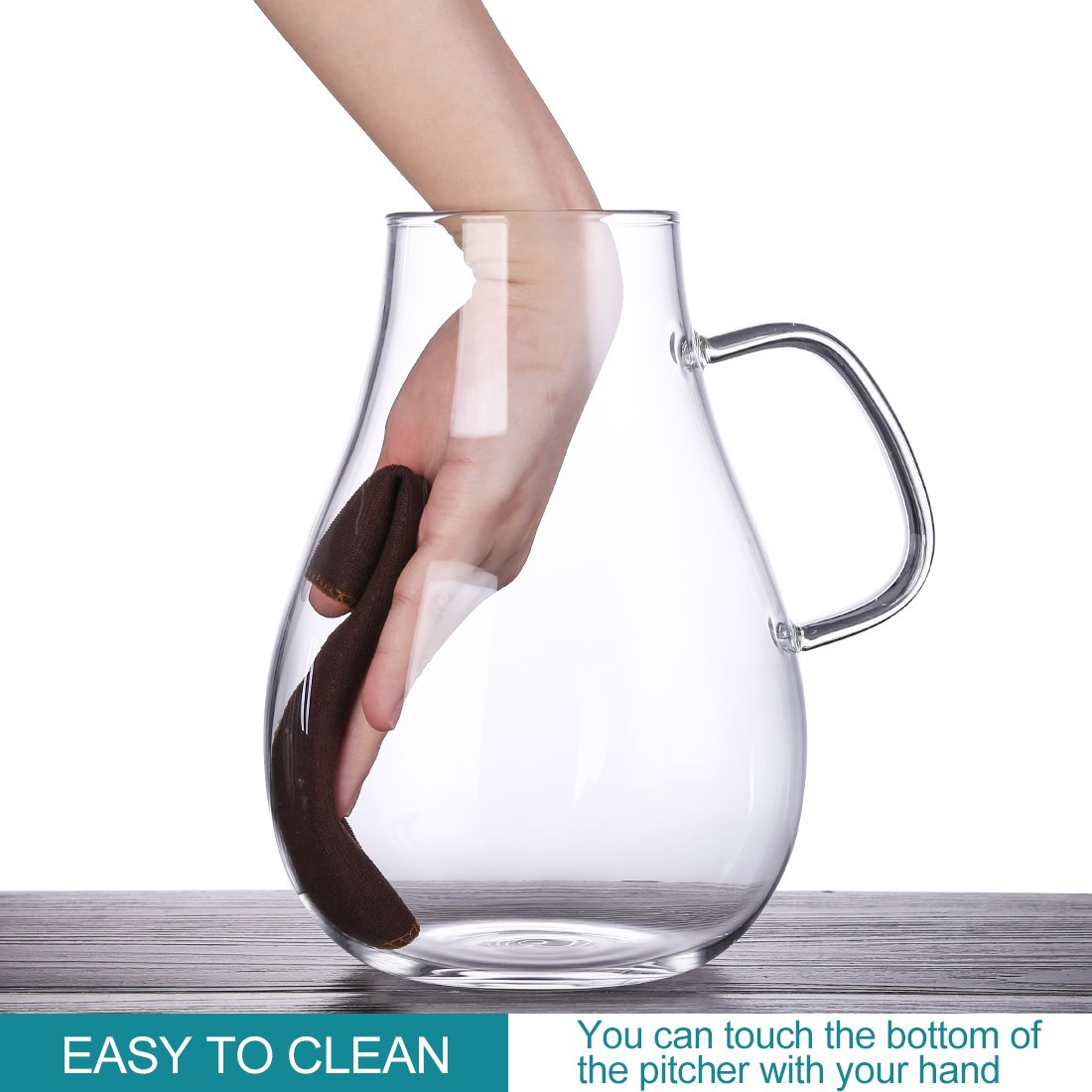 ONEISALL 85 Ounces Large Heat Resistant Glass Beverage Pitcher with Stainless Steel Lid, Borosilicate Water Carafe with Spout and Handle, Perfect for Homemade Juice & Iced Tea by Weisier (Image #5)
