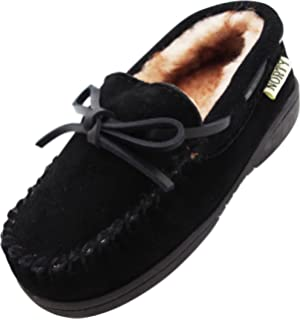 afc24ab2591 NORTY Toddler Little Kid Big Kid Genuine Leather Cowhide Suede Moccasin  Slippers