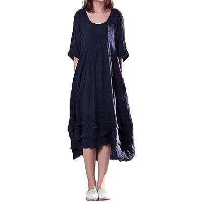 ACHIOOWA Femme Vintage Coton Robe Manches Longues Tunique Casual Lâce Large Robe Maxi