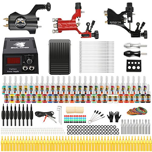 (Solong Tattoo Complete Tattoo Kit 3 Pro Rotary Machine Guns 54 Inks Power Supply Foot Pedal Needles Grips Tips TK355)