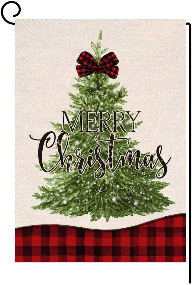 Christmas Tree Garden Flag 12.5x18 Vertical Double Sided Red Black Buffalo Check Plaids Farmhouse Burlap Yard Outdoor Decorations