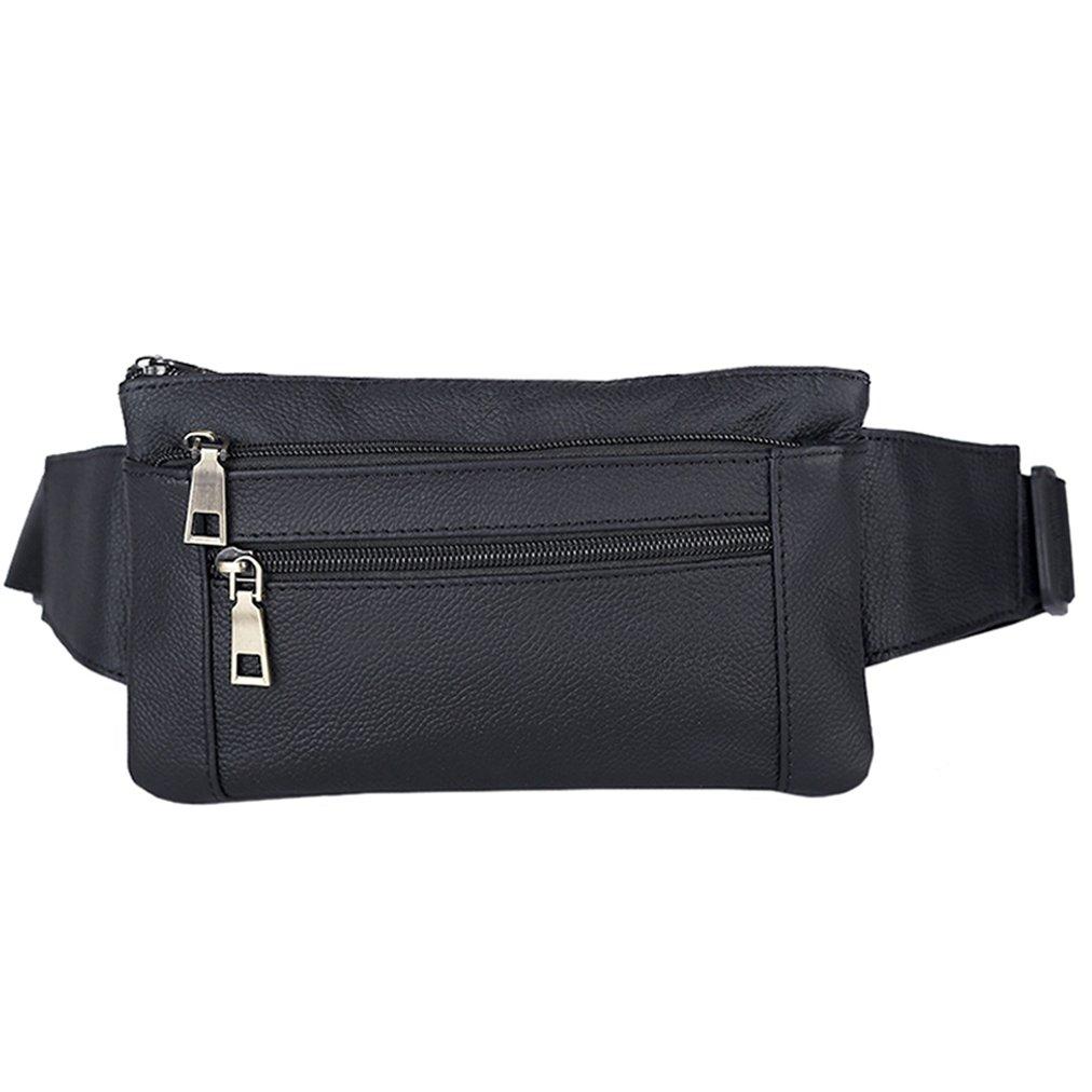 Genuine Leather Belt Men & Women Fanny Pack Travel Passport Bum Hip Bag Unisex Cross Body Bags Running Waist Pack Pouch Black
