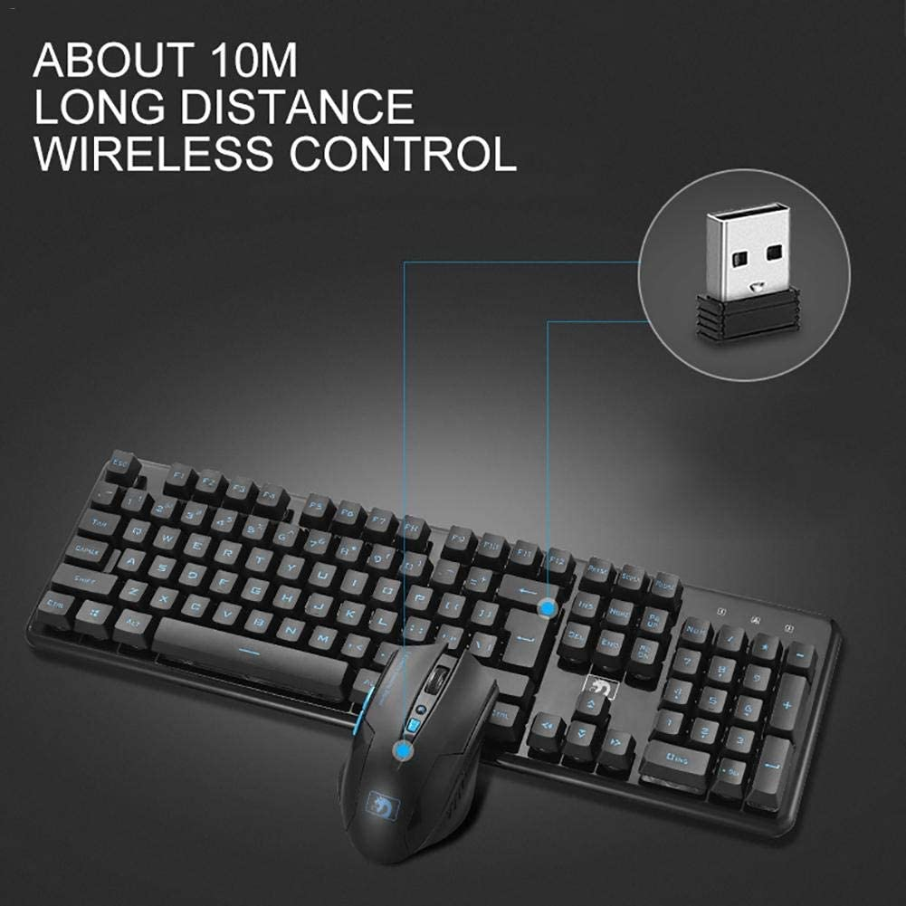 4 Styles Color : White Wireless Charging Light Gaming Keyboard and Mouse Set YINJIESHANGMAO Keyboard Set Mechanical Feel