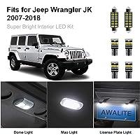 AWALITE 7pcs JK LED Interior Lights Kit for 2007-2018 Jeep Wrangler JK JKU Unilimited Ultra Bright Interior LED Bulbs…