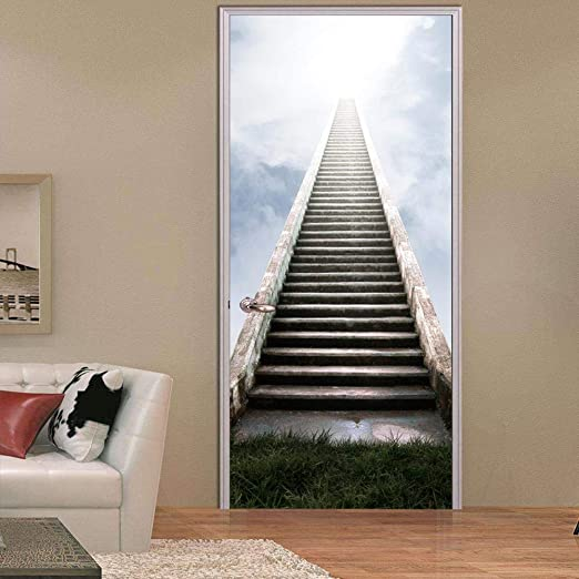 DNFurniture 3D Etiqueta de la Puerta Escalera de Madera 95X215CM ...