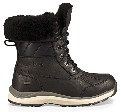 9777af84a85 UGG Women's Adirondack III Quilt Waterproof Leather Lace Up Boot  Black-Black-7 Size 7