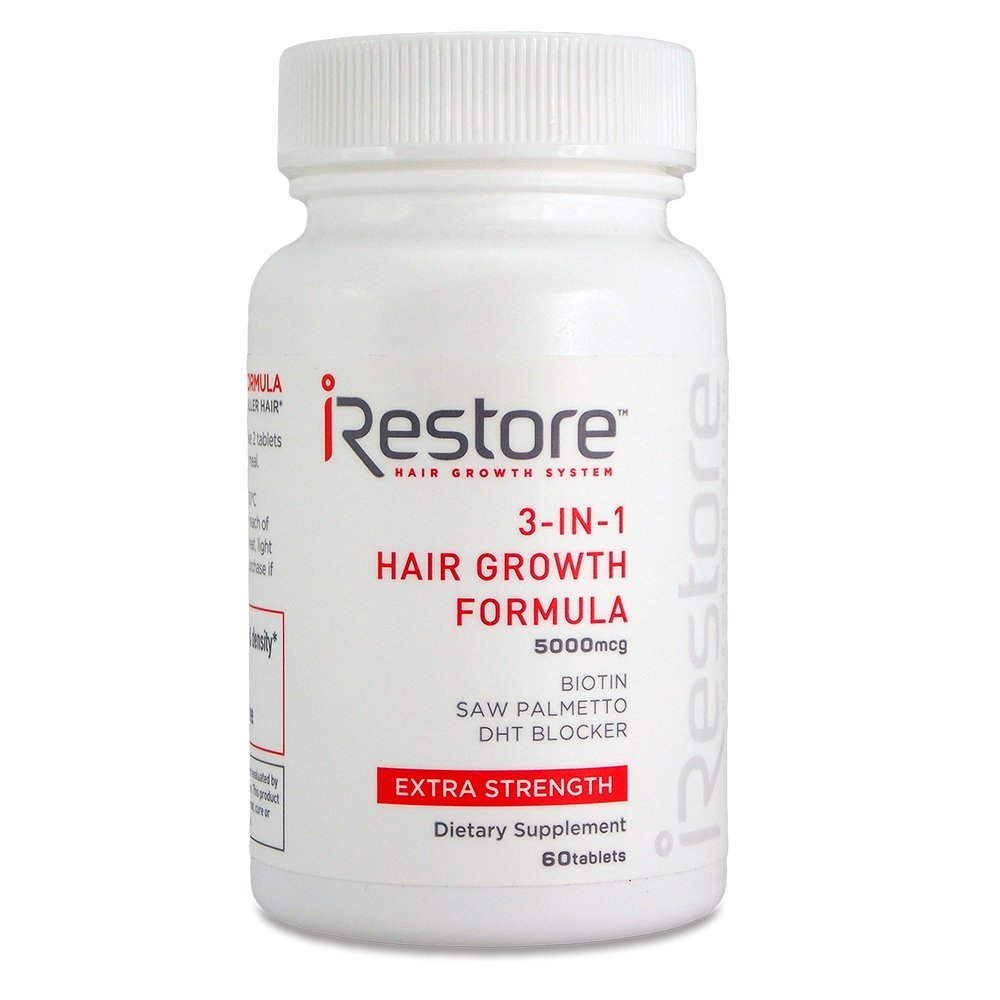 iRestore 3-in-1 Hair Growth Supplement with Biotin, Saw Palmetto, DHT Blocker and Other Extracts for Hair Loss & Thinning Hair - Vitamins for Hair Regrowth, Skin & Nails Health – 60 Count Freedom Laser Therapy