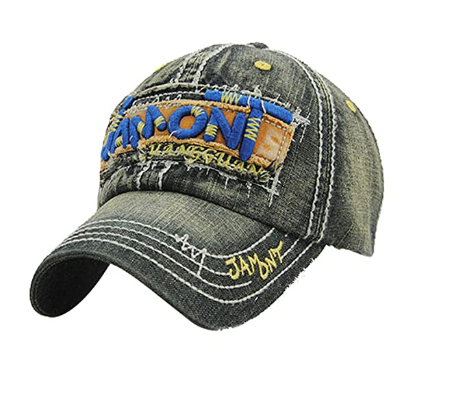 ACVIP Letters Embroidered Washed Denim Baseball Cap Outdoor Sports Sun Hat  (Color 1) 827d0551c3ca