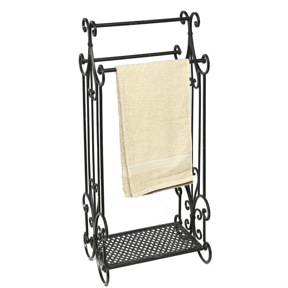 Fashionpillow -1211306- Nostalgie Handtuchhalter, schwarz | Antiklook Metall - Handtuchständer mit Ablage
