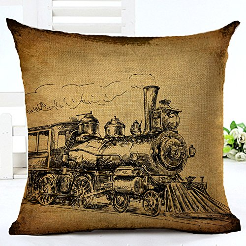 FaceYee Vintage Telephone locomotive Throw Pillow Covers 18X18 Waist Cushion covers Digital printing pillowcase Home DecorColor 3 (Locomotive Telephone)