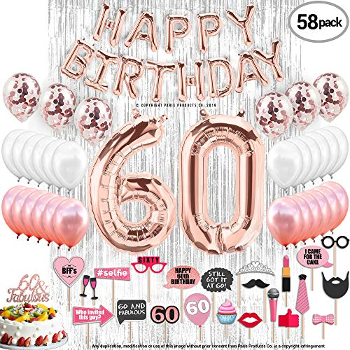60th Birthday Decorations with Photo Props 60 Birthday Party Supplies| 60 Cake Topper Rose Gold| Happy Bday Banner| Rose Gold Confetti Balloons for her| Silver Curtain Backdrop Props Photos 60th Bday]()